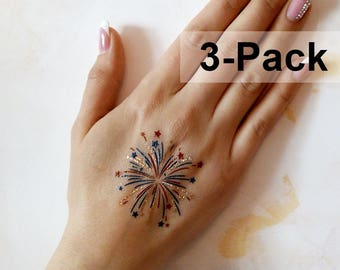 Fireworks Temporary Tattoos, 4th of July Tattoo, Blue Red Gold Body Stickers, Jewel Flash Tattoos, Patriotic Transferable Tattoos for Women
