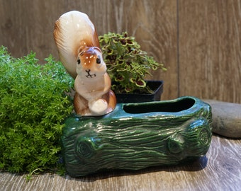 Vintage 1950s Adorable Ceramic Squirrel on a Green Log Planter