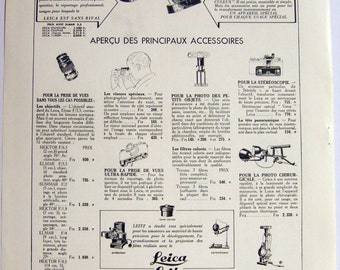 Original Vintage 1937 LEICA LEITZ Camera Advert from a French magazine (full page 11'x15'/28x38cm)