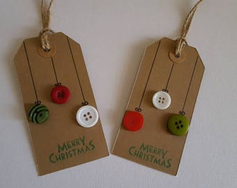 Merry Christmas button bauble/holly gift tag