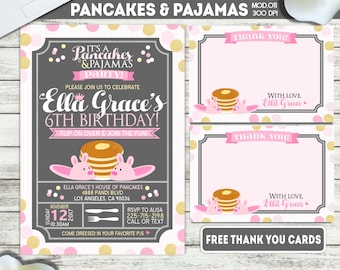Pancakes and pajamas etsy printable or printed pancakes and pajamas party girl birthday invitation filmwisefo