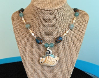 Nautilus Necklace, Seashell Jewelry, Handmade Jewelry, Beach Jewelry, Ocean Necklace, Art Jewelry, One of A Kind, Beaded Necklace