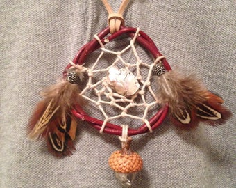 Dreamcatcher necklace with quartz crystal pendant - Rearview Mirror Charm - Christmas Tree Ornament