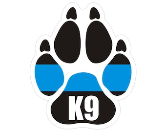 K9 K-9 Paw Thin Blue Line Police Officer Law Enforcement Sticker / Decal #169 Made in U.S.A.