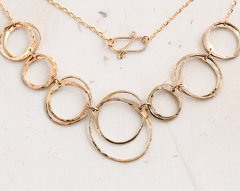 """Modern Rustic Hammered Chain Necklace- Polished Gold. Bold, brilliant, & easy to wear- """"Moments of Zen"""" makes a striking statement."""