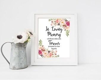 Boho Printable In Loving Memory Sign, Boho Floral In Loving Memory Wedding Sign, Boho In Memory Sign, Memorial Sign, Instant Download 110-W