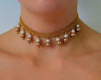 choker, collar, choker necklace, collar necklace, pearl collar, pearl choker, beaded choker, beaded collar, lace choker, gifts for her