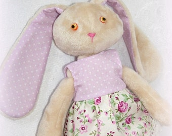 Soft bunny doll with clothes, Bunny to sleep, Fabric Rabbit, Child friendly, Stuffed Plush bunny, organic soft toy