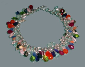 Ruby Sapphire Tanzanite Multi Gemstone Faceted Briolette Sterling Silver Charm Bracelet