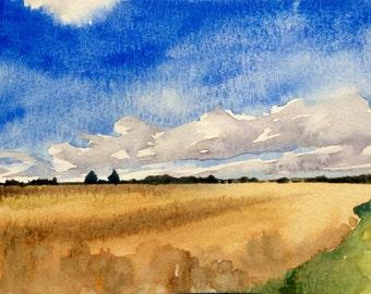 English landscape, Wheat field, landscape, countryside, England, rural, fields, landscape watercolor, Kent UK,