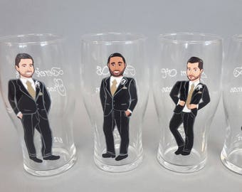 Gift for groomsmen Hand painted bachelor party Personalized Beer glasses Customized - Personalized Caricatures