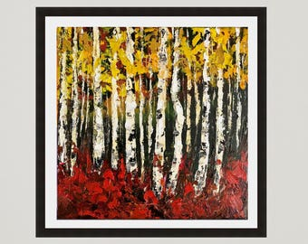 Birch art,Birch tree Print, Landscape print, Aspen tree, Birch tree wall decor, Birch decor, Fine art print, Forest Painting, Tree painting