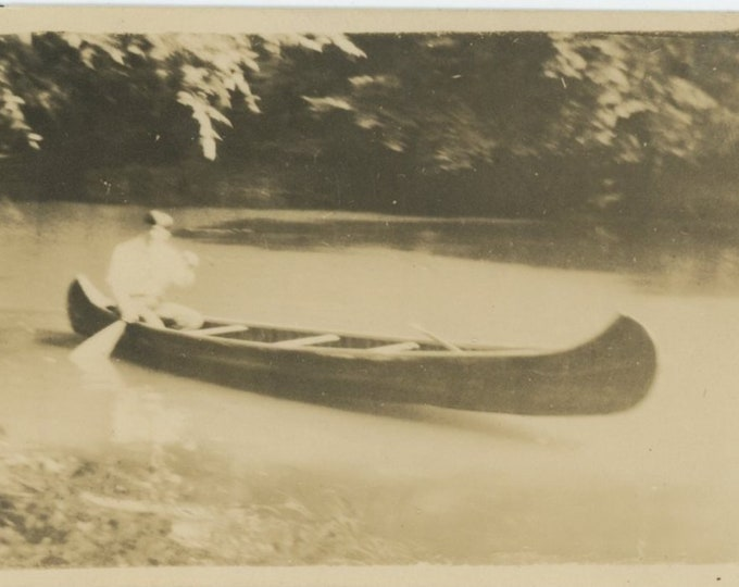 Vintage Snapshot Photo, c1920s: Canoe [84663]