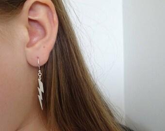 Lightning bolt Earrings in Sterling silver, Dainty  Earrings, Simple Earrings