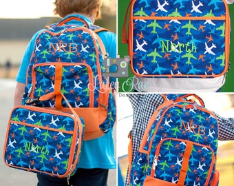 Boys Take Flight Personalized Backpack, Lunchbox, Pencil pouch, Preschool backpack, Monogrammed backpack, School Age Backpack,