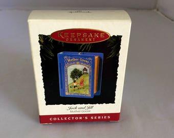 Hallmark Ornament, Jack and Jill, Mother Goose series,1995, book ornament, Christmas ornament, Xmas decor, stocking stuffer, box included