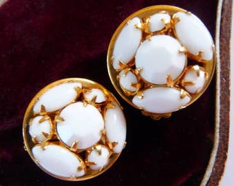 vintage white clip earrings | button style | white milk glass style | gold tone | bridal jewelry | 1980s 1990s