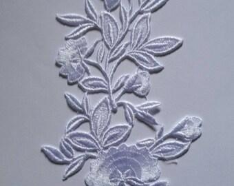1 28 cm X 12 cm white Venice guipure lace applique