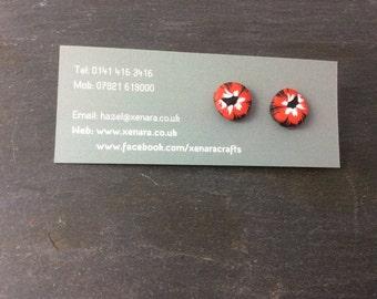 Red,black,white stud earring - Polymer clay earrings