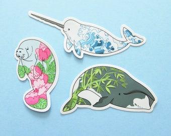 THREE PACK Aquatic Mammals Stickers natelledrawsstuff