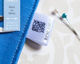 150 pcs White Custom Printed Soft Satin Clothing Labels / Care Labels / Sew in Labels