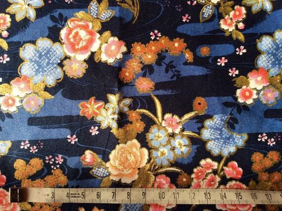 Japanese printed cotton poplin sold per 25cm, Asian gold print