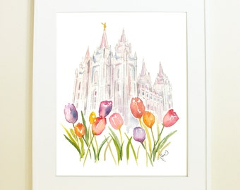 Salt Lake City LDS Temple, featuring famous Temple Square Tulips! SLC Temple Watercolor Print