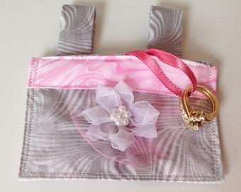 Gray & Pink Wedding Dog Ring Bearer Collar Pouch