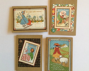 Welcome baby cards, Nursery rhyme cards, mother goose, new baby cards, kraft, kids, children's cards