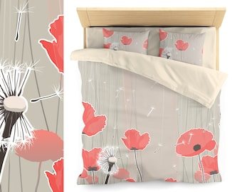 Poppy duvet cover, Red floral bedding set, Asian influence.