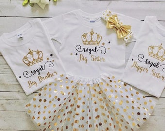 Royal Big Sister/Brother Baby shower Family matching outfits,Royal Baby shower Big Sister/Brother