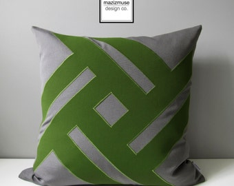 Grey & Olive Green Outdoor Pillow Cover, Decorative Pillow Cover, Modern Throw Pillow Cover, Geometric Sunbrella Cushon Cover, Mazizmuse