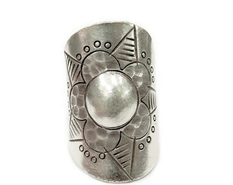 Handmade Sterling Silver Tribal Ethnic Boho Flower Wide Ring, Sun Solar Statement Long Ring, Adjustable, can fit any finger also Thumb Ring