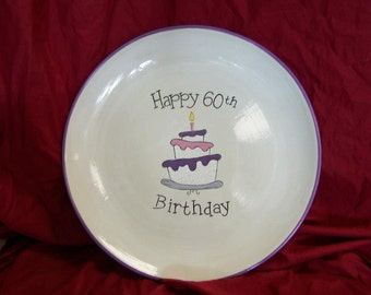 """Topsy Turvy Happy Birthday (Happy Gotcha or Anniversay) 15"""" or 12"""" Signature Plate Gift"""