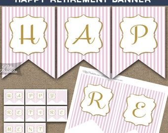 Retirement Banner - Printable Happy Retirement Banner - Pink & Gold Glitter Retirement Party Decorations - PGL