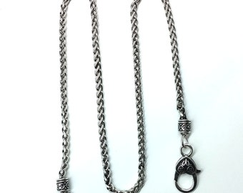 1PC/ Bulk Sale, Alloy Braid Necklace with Huge Lobster Clasp, Antique Silver Color Necklace