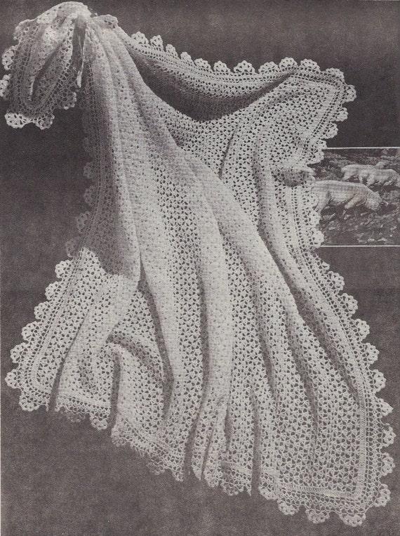 Tiny Buds • 1950s Crochet Christening Baptism Baby Shawl Pattern ...