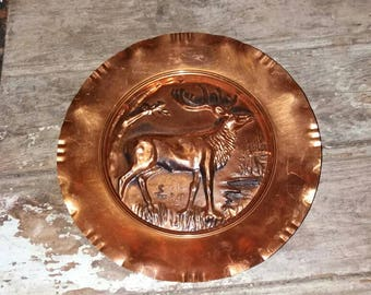 Copper Stag Decrotive Wall Plate, Plate,Decor,Gift,Deer,Living,Wall Art,Rustic,Copper Wall Art