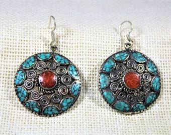 Tibetan silver earrings, turquoise earrings, dangle earrings, coral earrings, drop earrings
