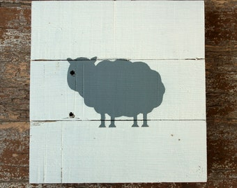 Sheep Silhouette, Sheep Sign, Sheep Painting, Sheep Nursery, Sheep Wall Art, Sheep Nursery Decor, Wood Sheep, Grey Sheep, Sheep Picture