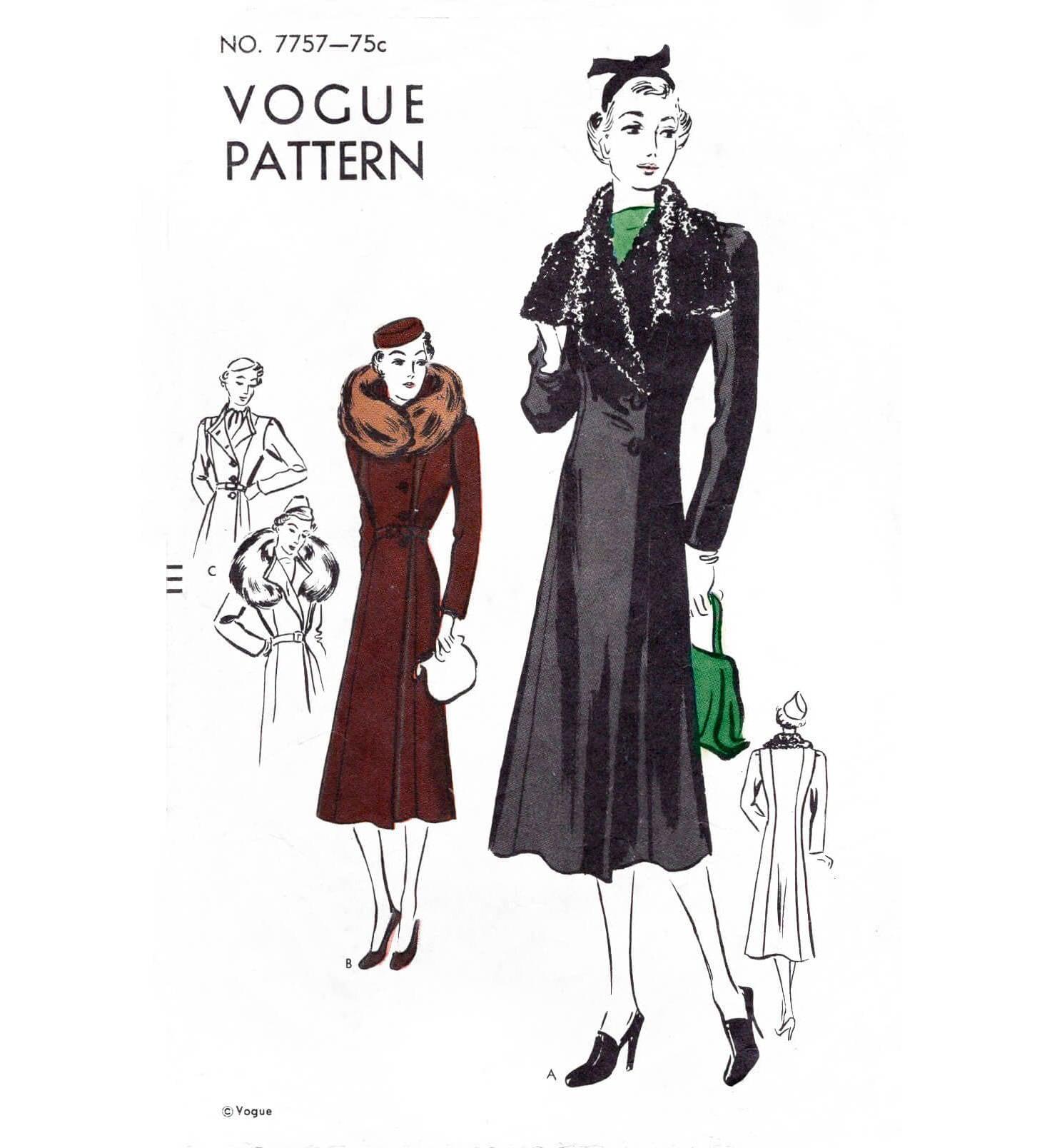 1930er Jahren 30er Jahre Mantel Muster / / Jahrgang Nähen