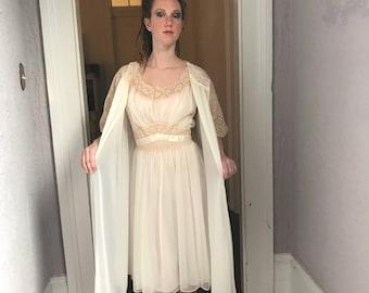 50's/60s Vintage Vanity Fair Chiffon Lace Peignoir Nightgown Set 38 med