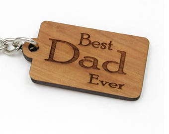 Best Dad Ever -  Key Chain. Nice Fathers' Day Gift for Dad. Gifts Made in the USA by Timbergreen Woods. Keychains and Fobs.