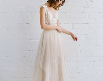Lace Wedding Dress, Floral Lace Bridal Gown, Low Back Gown, Nude Tulle Wedding Dress, Bohemian Wedding , Champagne Gown-  ADRIANNE