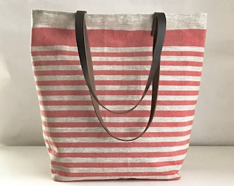 Red Mini Stripe Linen Tote Bag with Leather Handles - READY TO SHIP