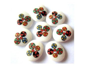 8 Vintage cabochon colorful ornament on white milk  porcelain glass made in Japan  10mmX8mm