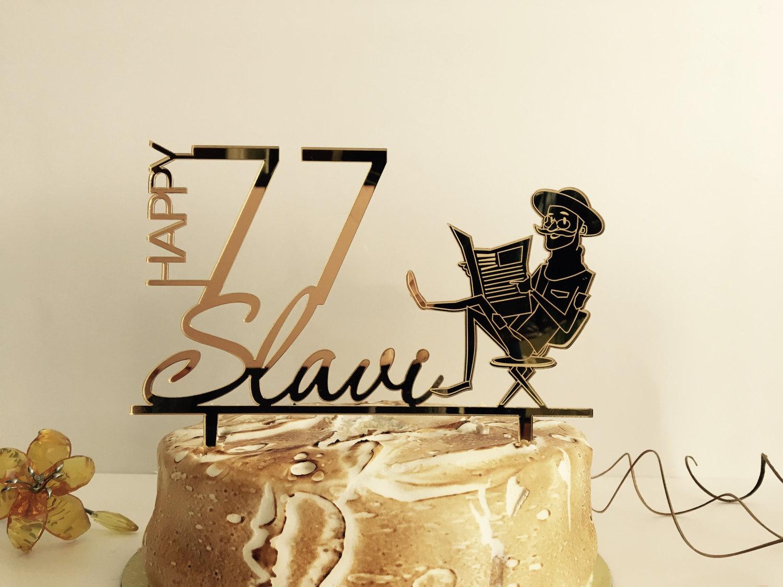 Personalised cake topper Happy Birthday Custom Name Age Cake
