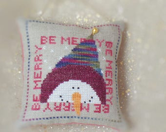 Be Merry Snowman Finished Cross Stitch Christmas Ornament