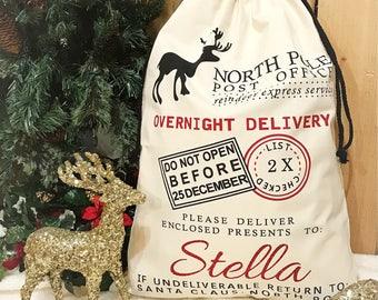 Personalized santa bag, santa bag, kid's christmas bag, christmas bag, personalized christmas sack, santa sack, christmas sack, present bag