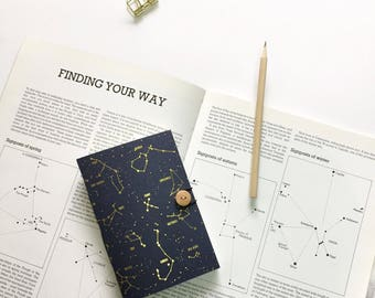 GOLD FOIL Constellation  notebook, Star notebook, Indigo Sketchbook, Space notebook, A5 A6 notebook